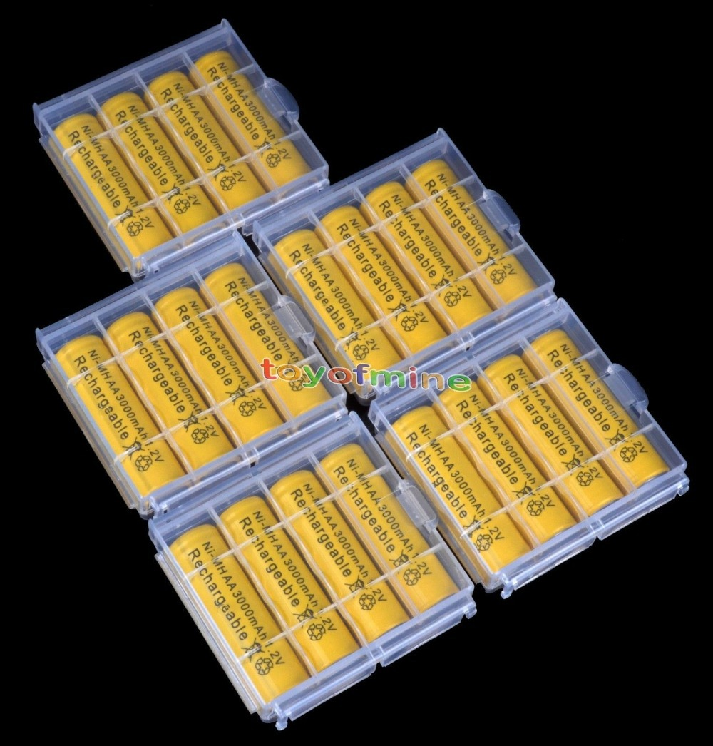 20x AA 3000mah NiMH 1.2v 2A Yellow Color Rechargeable Battery + 5x Plastic Battery Case Holder