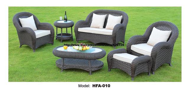 Luxury Rattan Furniture Handmake Cane Outdoor Garden Sofa Set Outdoor Table  Chair Sofa Ottoman 2016 Hot