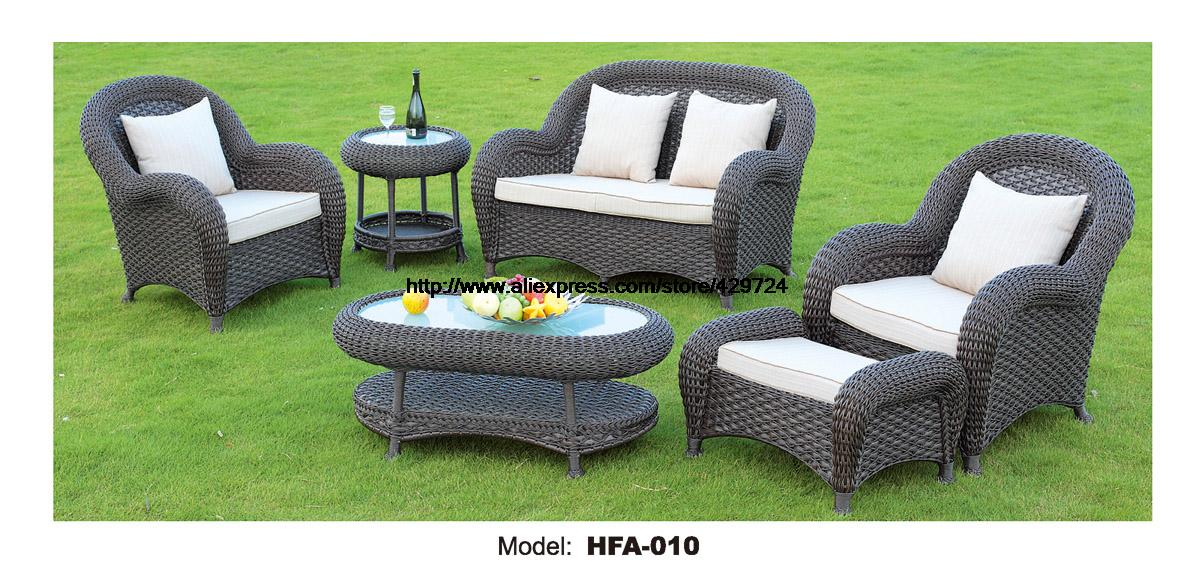 Luxury Rattan Furniture Handmake Cane Outdoor Garden Sofa Set Outdoor Table  Chair Sofa Ottoman 2016 Hot Sale Classic Sofa