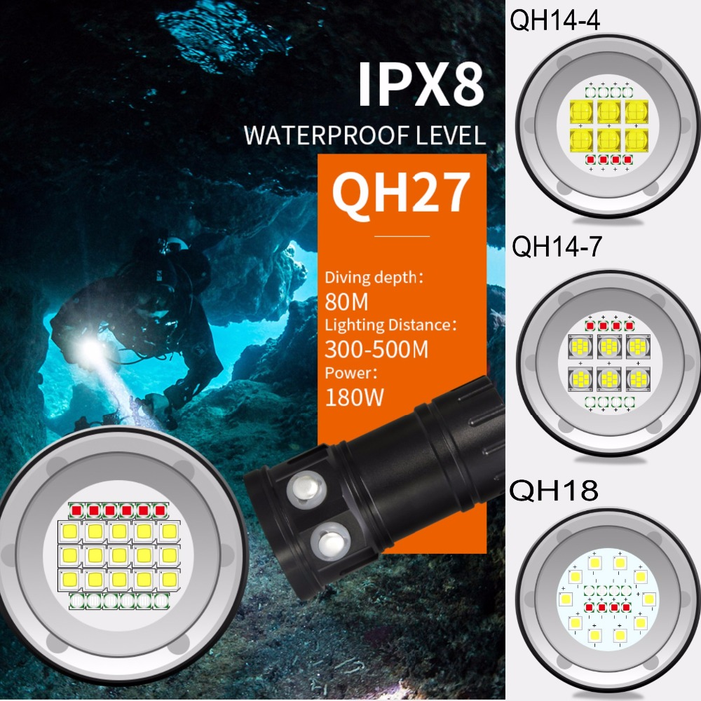 Tinhofire QH14/QH18/QH27 Waterproof IPX8 White/Red/Blue LED Diving Fill Light Flashlight LED Photography Video Scuba Light Torch sport car style 2 led white light flashlight keychain w sound effect red 4 x lr41