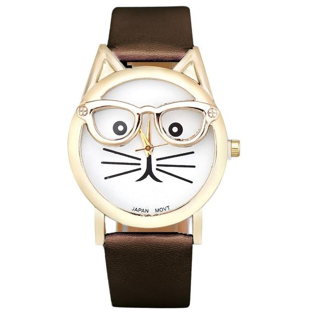 Zegarek damski młodzieżowy kot w okularach różne kolory