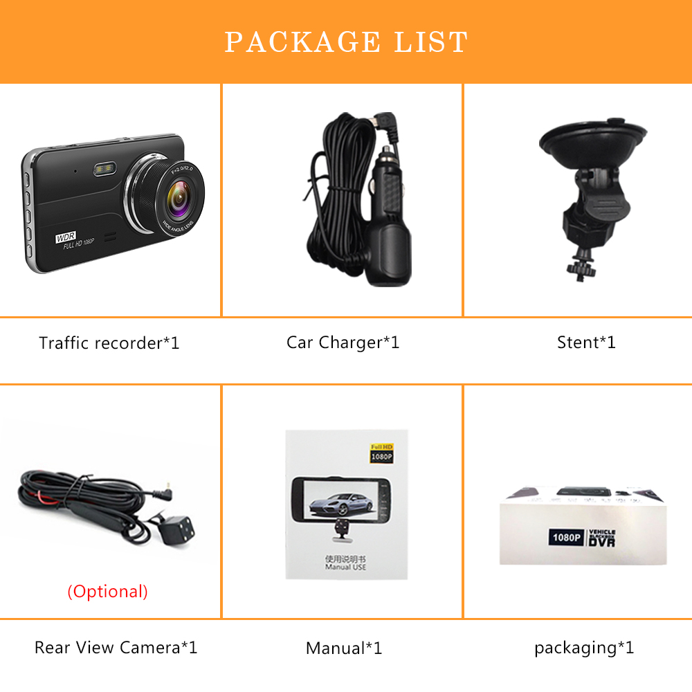 Image 5 - Car DVR 4 Inch Auto Camera Dual Lens Full HD 1080P Dash Cam Video Recorder With Rear View Camera Registrator Night Vision DVRs-in DVR/Dash Camera from Automobiles & Motorcycles