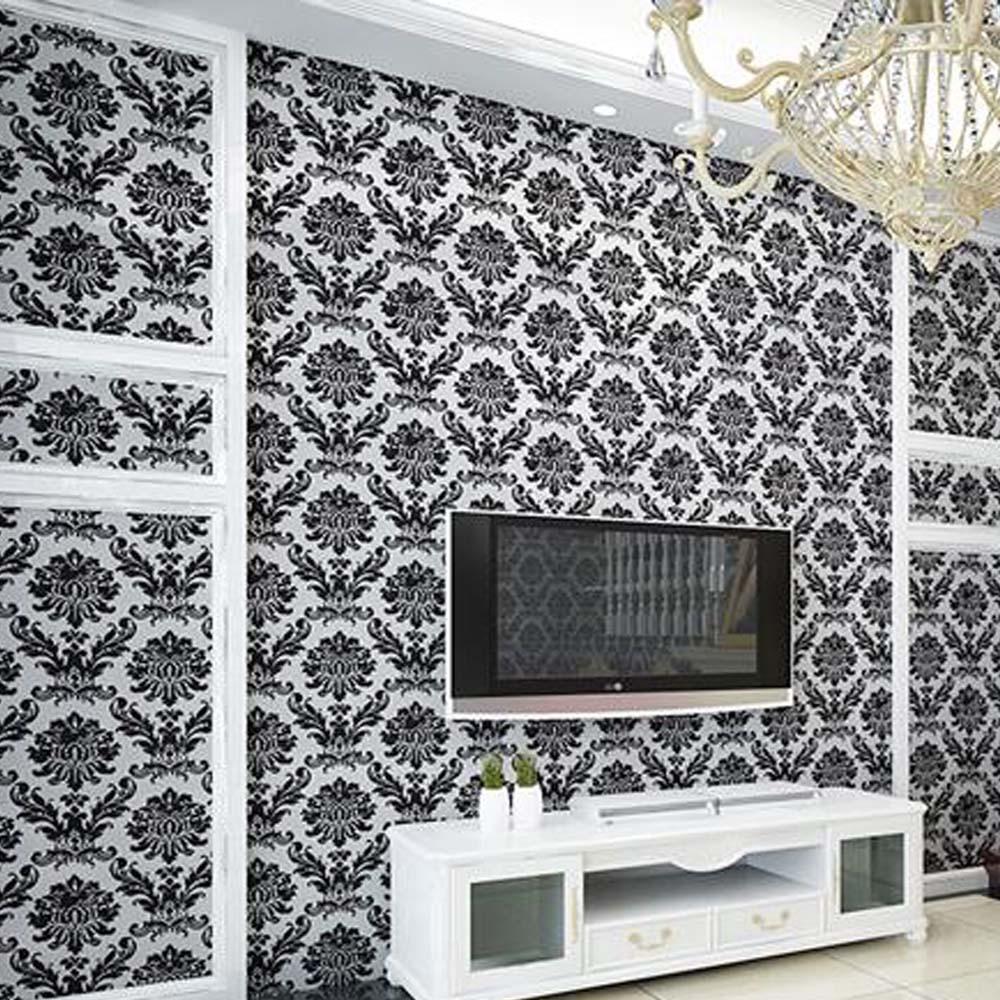Black Velvet Wallpaper Embossed 3D Damask Floral Wallpapers For