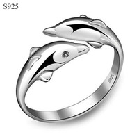 Genuine Real Pure Solid 925 Sterling Silver Rings For Women Fine Jewelry Female Dolphin Love Adjustable