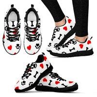WHEREISART Veterinarian Dog Love Nurse Shoes Printing for Work Woman Comfortable Nursing Mesh Sneakers Girls Black Flat Shoes