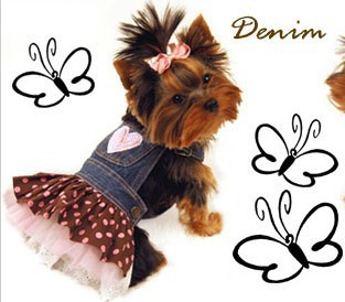 Super cute Jeans dog clothes Costume New Pet clothes Cute Heart Shape dog clothing Yorkshire Chihuahua Costume