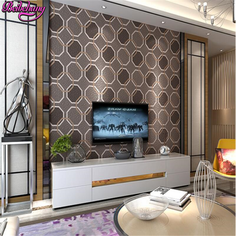 beibehang papel de parede Simple TV background wall paper living room screen wall 3d non woven wallpaper  and heavy flocking beibehang papel de parede 3d flooring non woven wall paper bedroom living room tv background wallpaper roll geometric diamond