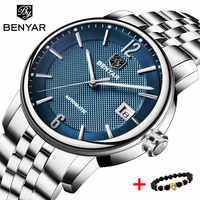 BENYAR New Automatic Machinery Business Luxury Men Watch Top Brand Fashion Military Stainless Steel Watch Men Relogio Masculino