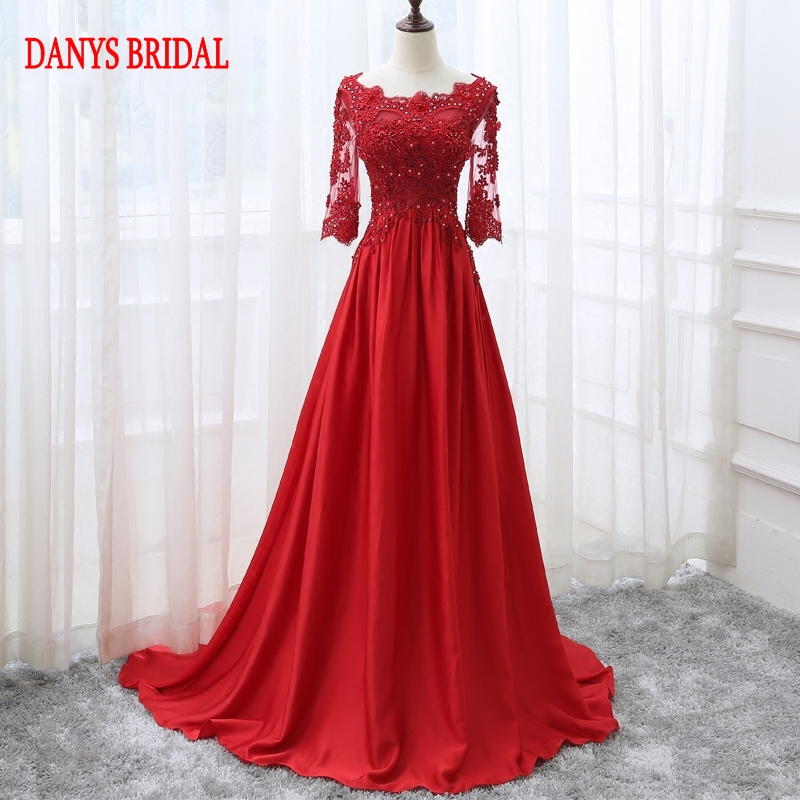 Red Langarm Spitze Abendkleider Party Satin Frauen Prom Perlen Formale Abendkleider Kleider robe de soiree longue