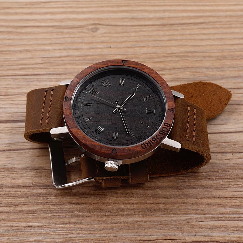 Watch Men Leather Strap Wooden Watches Luxury Wood Wristwatches relogio masculino C-K06 (10)