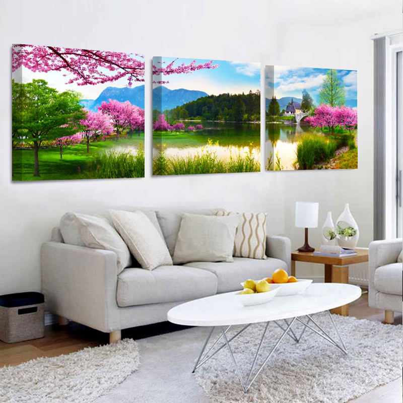 No Frame 3 Panels Modern Peach lake landscape Painting On Canvas Wall Art Cuadros Picture Home Decor For Living room and bedroom in Painting Calligraphy from Home Garden