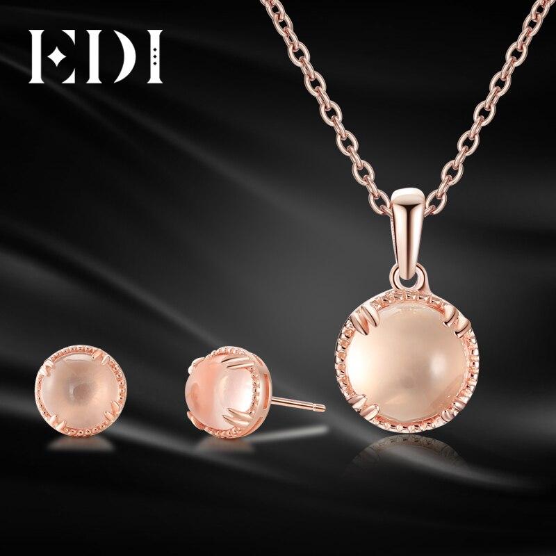EDI Véritable 7mm Pierre Naturelle Rose Quartz Cristal Ensemble de Bijoux 100% 925 Sterling Pendentif En Argent Boucles D'oreilles Pour Les Femmes