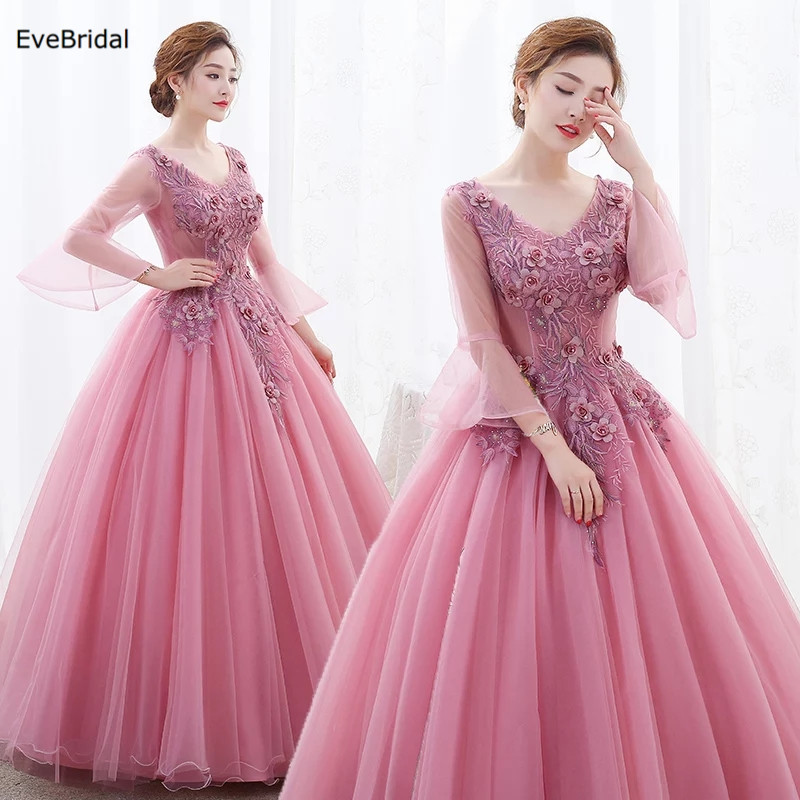 Applique Flowers 3/4 Sleeve V Neck Floor Length Ball Gown Bridesmaid Dresses Wedding Party Prom Pageant Runway Show Plus size