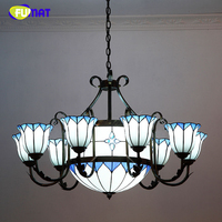 FUMAT estilo europeo Vintage sala de estar candelabros Hotel creativo Tiffany breve grandes lámparas de araña LED vitral lámpara