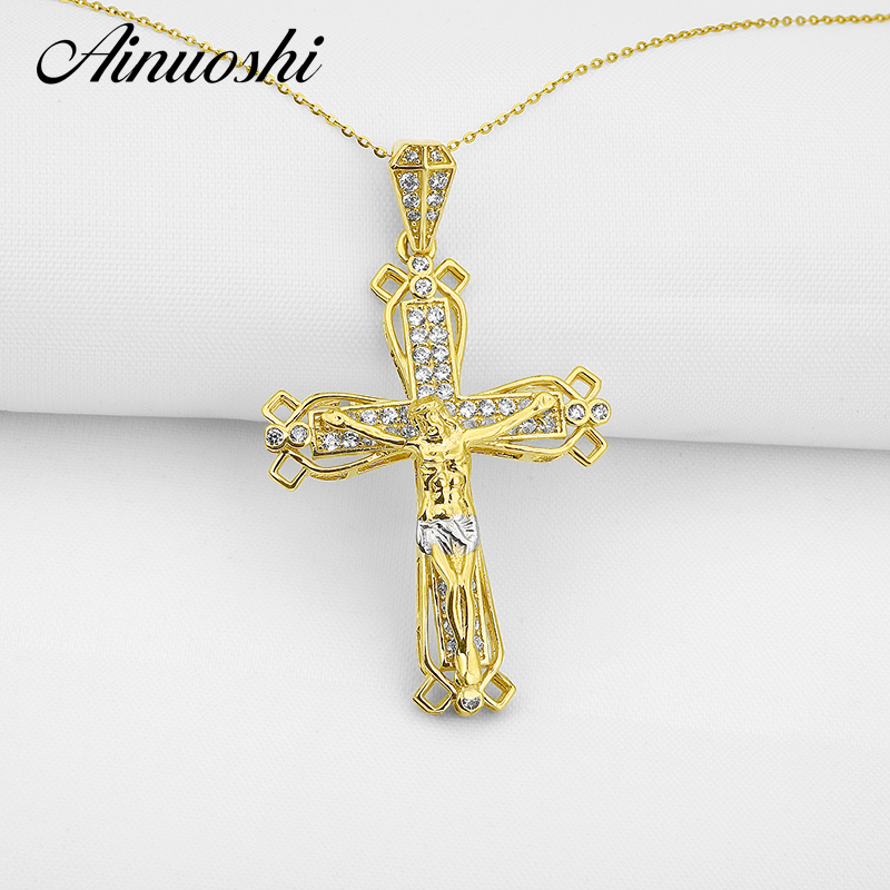 AINUOSHI 10k Solid Yellow Gold Christian Cross Pendant SONA Diamond Vintage Christian Fine Jewelry 4.5g Jesus Crucifix Pendant car pendant crystal diamond jesus cross car decoration crucifix automobile rearview mirror christian decor hanging accessories