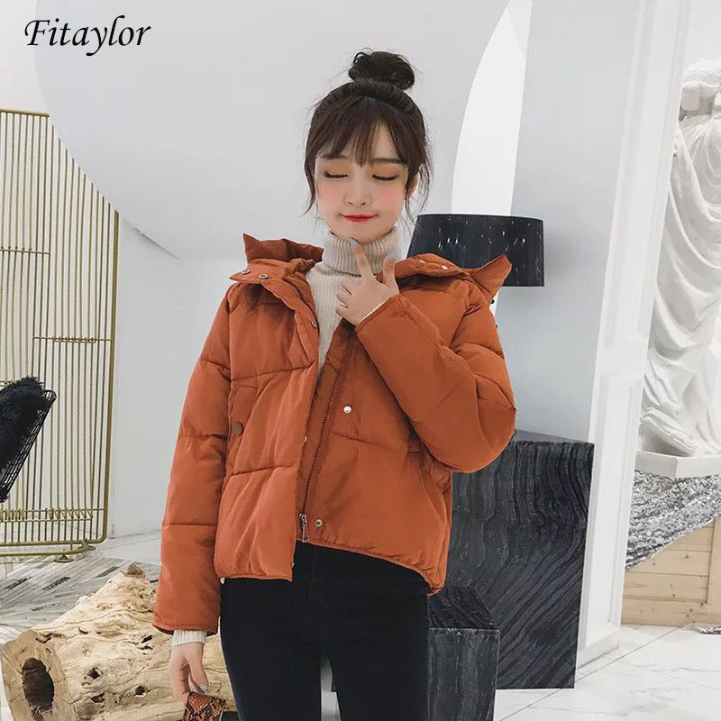 Fitaylor Women Hooded Down Cotton Coat Autumn Winter Female Thickening Short Jacket   Parkas   Female Warm Casual Cotton Overcoat