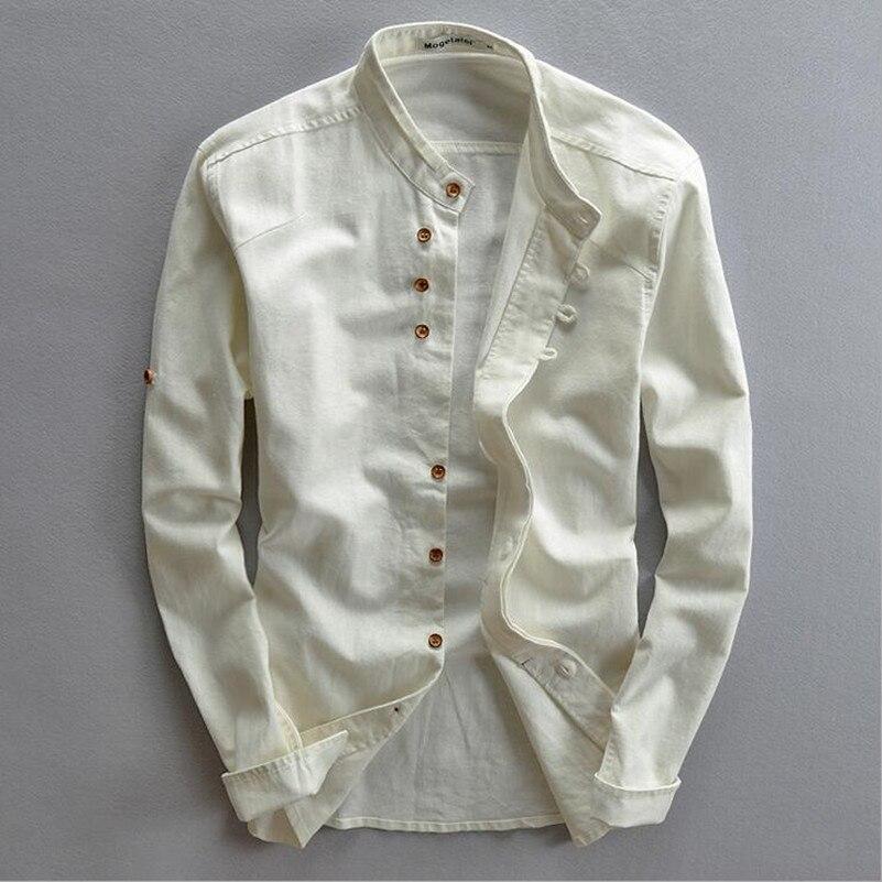 2016 Spring Mandarin Collar Full Sleeves Cotton Linen Shirt Men White Black Khaki Chinese Casual Shirts Summer Shirt Men