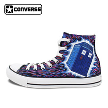 Hand Painted Canvas Shoes Converse All Star Pink Galaxy Police Box Unisex Athletic Sneakers High Top Flats
