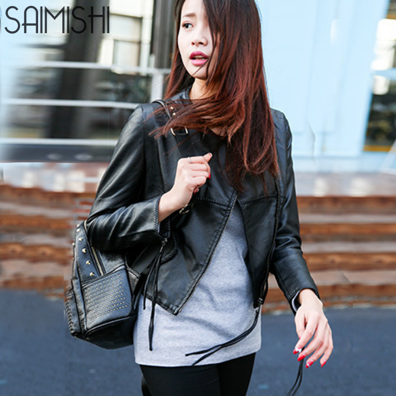 Saimishi Street Style Motorcycle Jacket Women Short Overcoat Autumn Fashion Cool Faux   Leather   Long Sleeve Jacket Femal Tops
