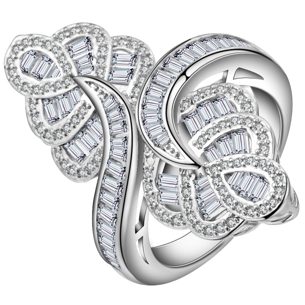 Exaggerated White Cut Cubic Zirconia Big Flower Ring Female Silver Color Amazing CZ Cocktail Accessories Women Finger Rings
