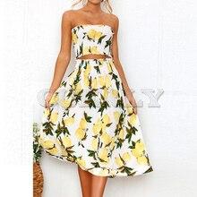 Cuerly 2 Pieces Set Summer Dress Women Sexy Strapless Boho Sunflower Lemon Print Party Ladies 2019 Midi Beach Dresses