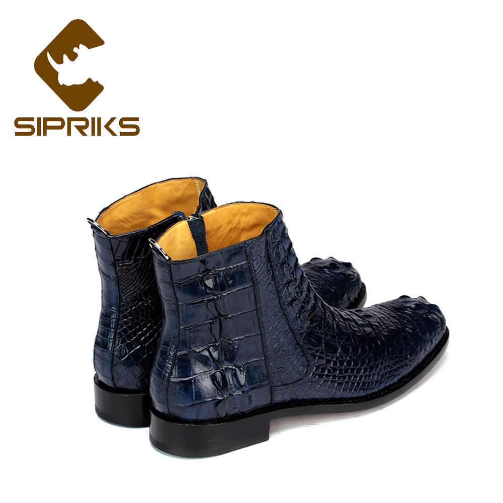 Sipriks Mens Navy Blue หนังจระเข้รองเท้า Bespoke ซิป Goodyear รองเท้า BOSS ชายคาวบอย BOOT สีน้ำตาลเข้มสีดำข้อเท้าขนาดใหญ่ 45