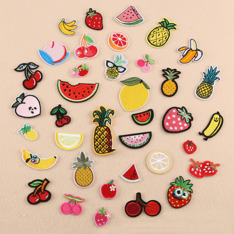 Banana Lemon Cherry Peach Watermelon Fruit Embroidery <font><b>Patches</b></font> for Clothing <font><b>Iron</b></font> <font><b>on</b></font> <font><b>Kids</b></font> Clothes Appliques Badge Stripes Sticker image