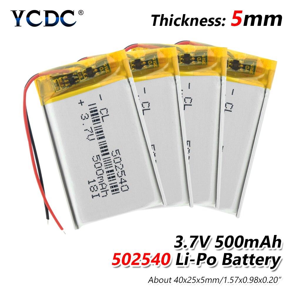 1/2/4x Rechargable Li Ion Polymer Battery 502540 500mAh Lithium Lipo Battery Power Bank Driving Recorder Induction Lamp Bateria