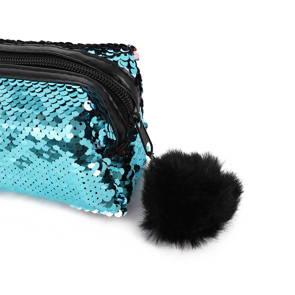 8d08e73b526c Mermaid Sequins Plush Ball Pencil Case Glitter Mermaid Reversible Sequins  Hairball Handbag Bts Makeup Brush Pouch Cosmetic Bag