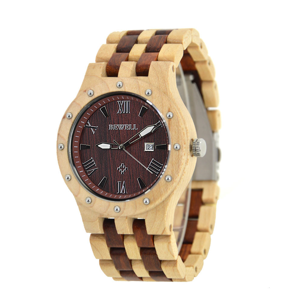 BEWELL Red Wood Watch Mens Watches Top Brand Luxury Clock Men Luxury Male Watches Luxury Analog Quartz Watch Dropshipping Hot