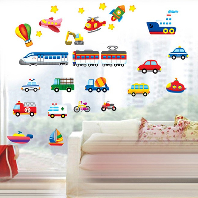 Cartoon Traffic Cars Wall Stickers Kids Room Cute Baby Bedroom Tractors Decals Home Decor