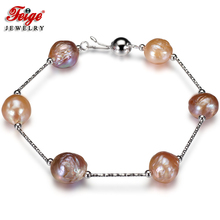 Natural Baroque Pearl Chain Bracelet for Women Anniversary Gift 11-12MM Multicolor Freshwater Pearl Bracelets Fine Jewelry FEIGE nymph freshwater pearl bracelets fine jewelry near round natural pearl bangles for women white trendy anniversary gift [s313]