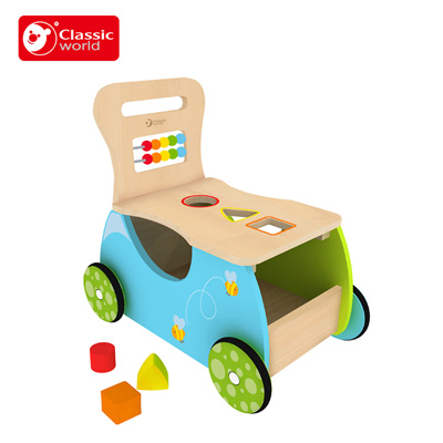 Classic world Essential Educational Wooden ride on toy sports series multifunctional baby blocks ride on car Early Learning Toy