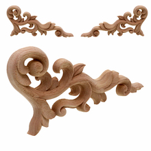 VZLX Practical Rose Floral Oak Wood Applique Carved Corner Home Decoration Accessories Door Wall Furniture Decor Decal Figurine