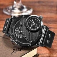 Уникальный дизайн Oulm спортивные мужские кварцевые часы с двумя часовыми поясами античные мужские наручные часы повседневные мужские часы ...