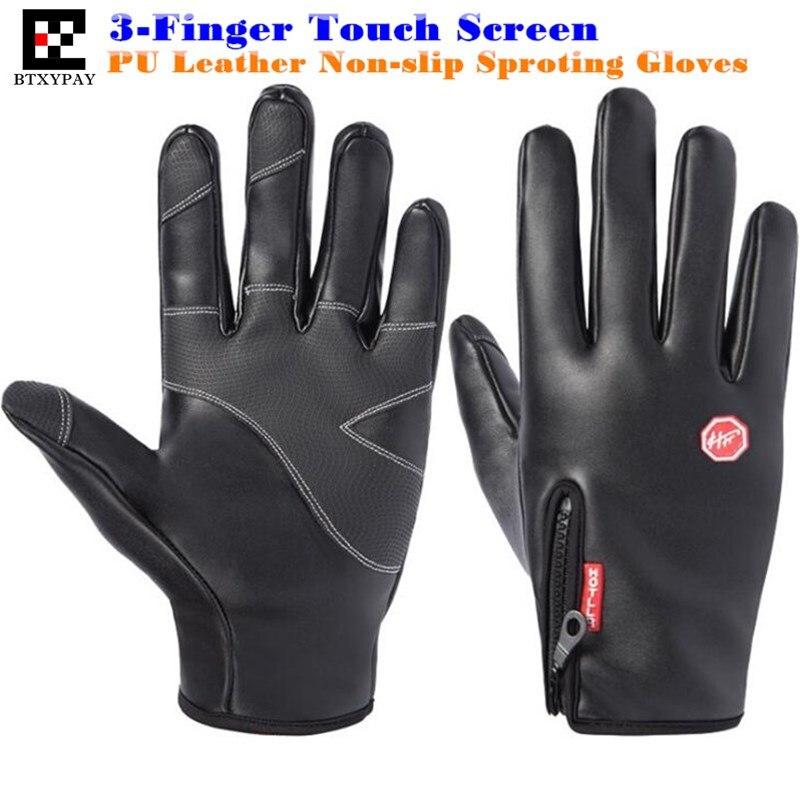 Men&Women Winter Warm PU Leather 3-Finger Touch Screen Gloves,Gold Velvet,Waterproof,Sport Magic Hiking Ride Ski Runing Gloves