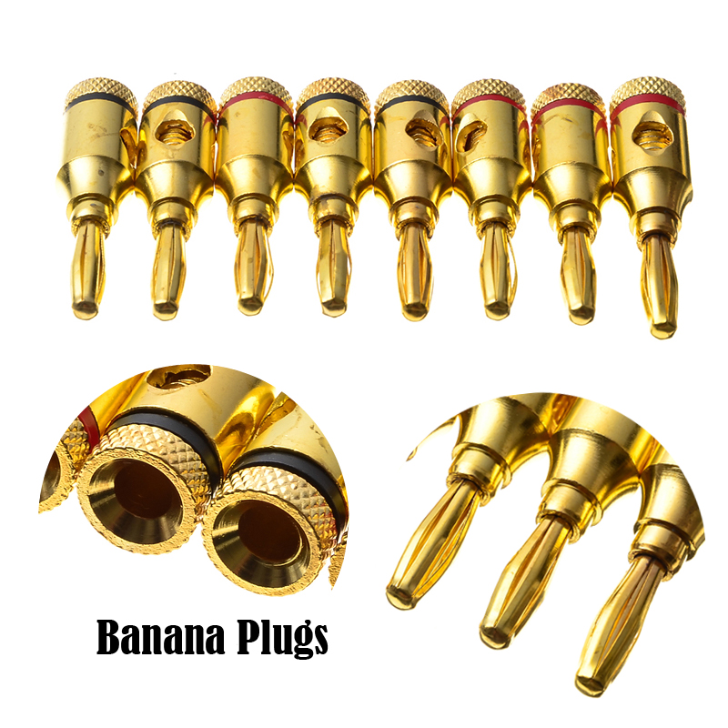 20PCS 4mm 24k Gold Plated Banana Plugs Wire Cable Connectors Musical For Speaker Amplifier Adapter Audio Banana Plug Connector 8pcs nakamichi 24k gold plated electrical audio bfa banana plug connectors