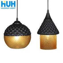 בציר תליון אור LED לופט תעשייתי סגנון אמבר זכוכית E27 מנורת בר/מסעדה רטרו חדר בר מיטת חדר 2 סגנון תליון מנורה