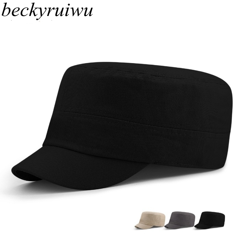 Men big head sun hats full close flat army   cap   male solid color plus size fitted   cap   women short peaked   baseball     cap   S M L