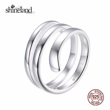 Shineland S925 Sterling Silver Simple Ring For Women Fine Jewelry Triple Adjustable Size Open Ring Anel de Prata Bague en argent