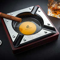 COHIBA Red Wood Cigar Ashtray Home Metal Ash Tray Outdoor Luxury Cigar Cigarette Ashtrays For Car With 4 Cigars Holder Ash Slot