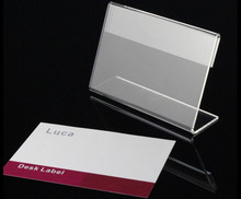 T1.3mm Clear L Shape Table Sign Price Tag Label Display Stand Paper Promotion name Card desk frame label display holder 10pcs 60 90mm price tag name card display acrylic magnetic picture photo frame declining desk sign frame ad block label display stand