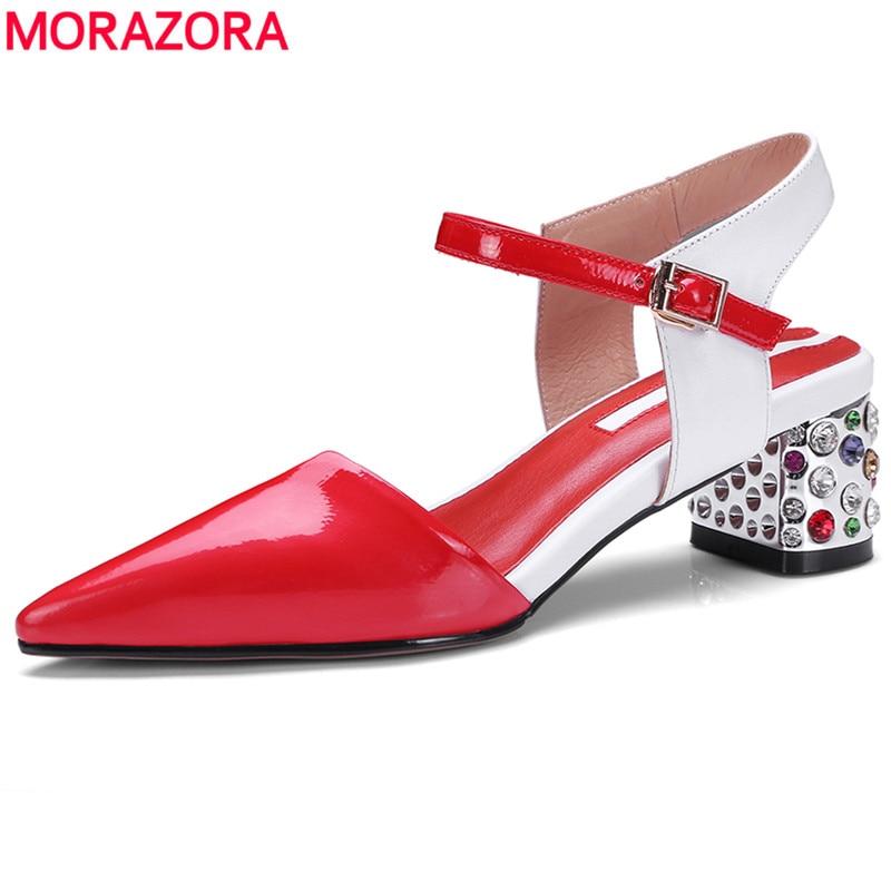 MORAZORA 2019 Genuine leather sandals women pointed toe rhinestone heels buckle strap mixed color ladies footwear