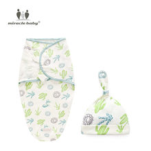Baby Swaddles Soft Newborn Blankets + Cap Cocoon Wrap 100% Cotton Swaddling bag Baby Envelope Sleep sack Bedding(China)