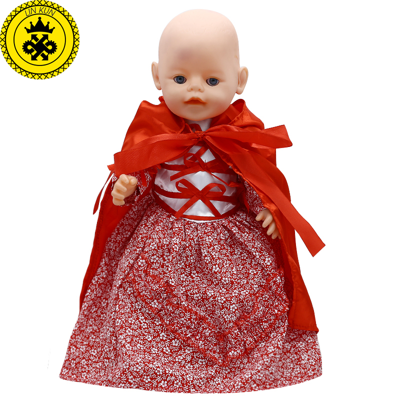 Baby Born Doll Clothes Red Floral Dress + Cape Fit 43cm Zapf Baby Born Doll Accessories drop shipping 560 baby born doll clothes bat patch skirt dress fit 43cm baby born zapf or 17inch baby born doll accessories high quality love 183