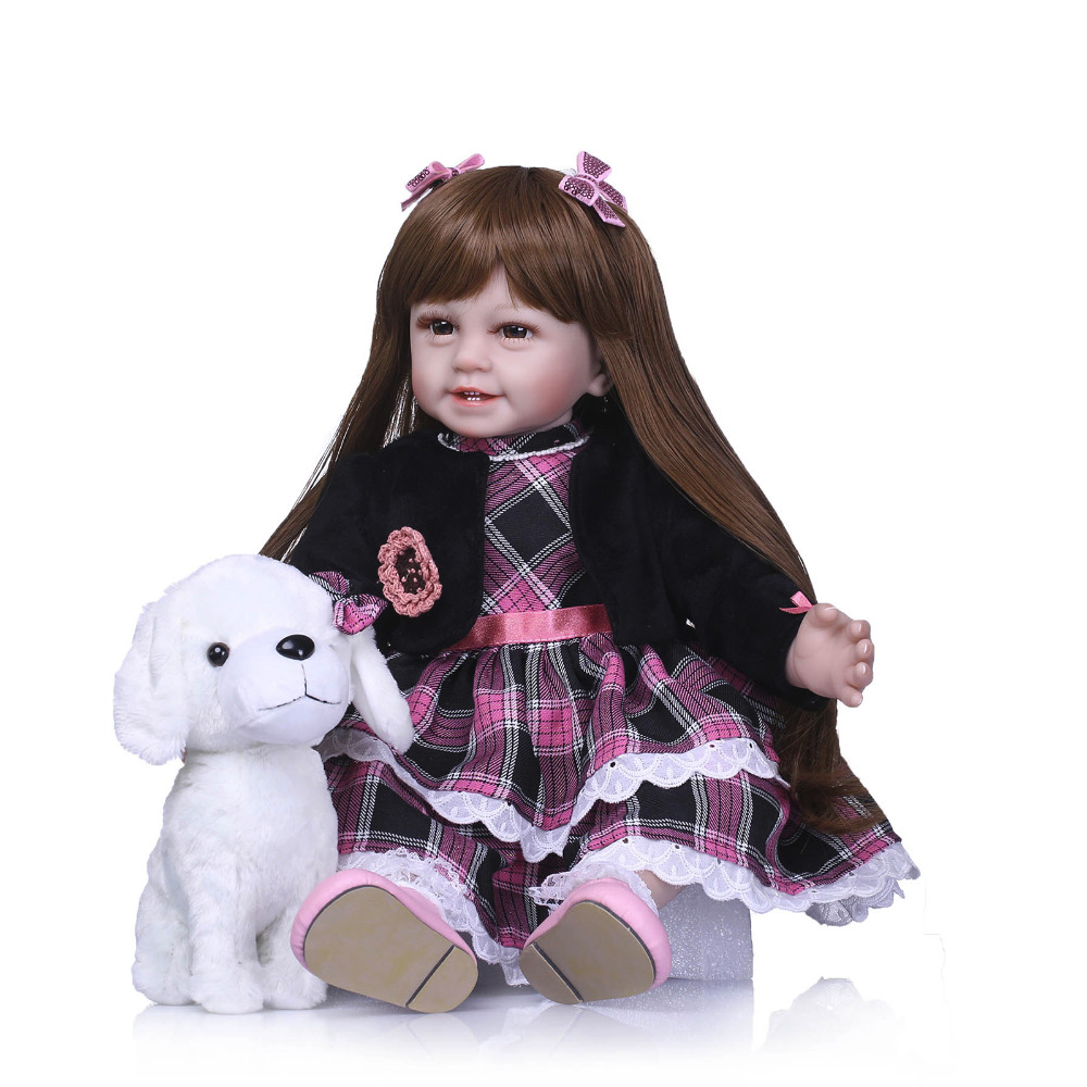 Nicery 22inch 55cm Lifelike Reborn Baby Lovely Girl Doll High Vinyl Christmas Toy Gift for Children Black Clothes White Dog Doll [mmmaww] christmas costume clothes for 18 45cm american girl doll santa sets with hat for alexander doll baby girl gift toy