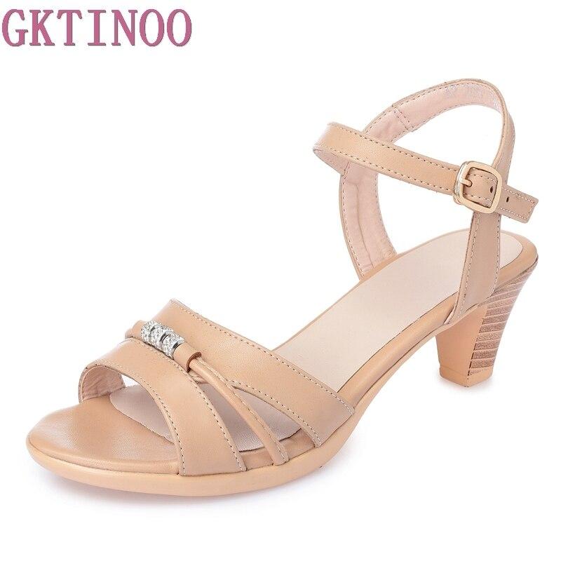 GKTINOO Peep Toe Leather Women Summer Sandals Thick High Heels Ladies Shoes Fashion Platform Sandals For Women Plus Size 35-43