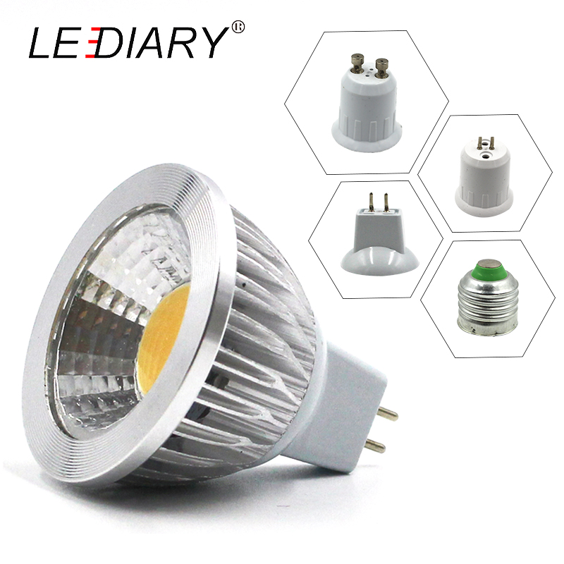 LEDIARY 10PCS MR16 COB <font><b>LED</b></font> Spot Light <font><b>Bulb</b></font> GU5.3 GU10 <font><b>E27</b></font> <font><b>12V</b></font>/100-240V 220V 3W/5W/7W Aluminium Housing Warm/Cold White 45 Degree image