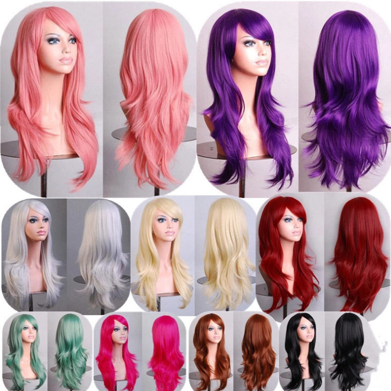 cosplay big wavy wigs women multicolor punk synthetic full wigs lolita anime heat resistance party wigs - Perruque Colore
