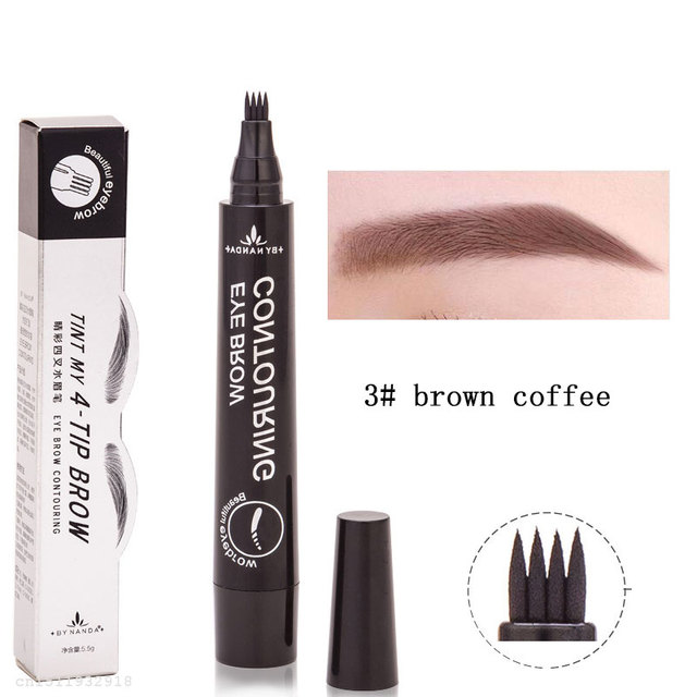 Makeup Microblading Tattoo Eyebrow Pencils Waterproof Fork tip Eyebrow Tattoo Pen 4 Head Fine Sketch Enhancer Korean Cosmetics